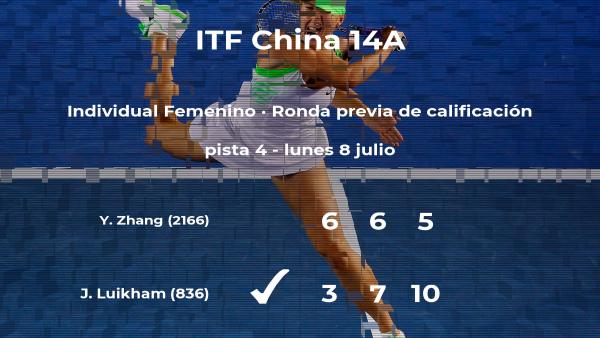 Jennifer Luikham logra vencer en la ronda previa de calificación a costa de la tenista Yuxin Zhang