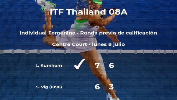 La tenista Lunda Kumhom consigue la plaza para la siguiente fase tras vencer en la ronda previa de calificación