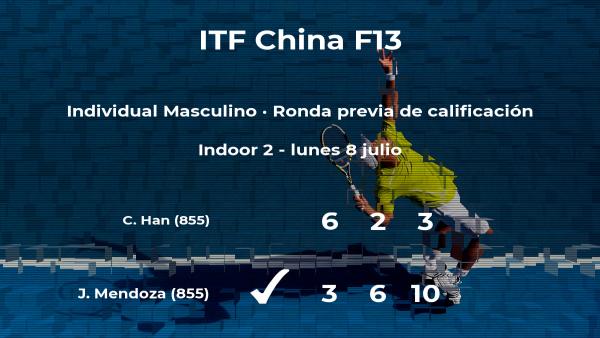 El tenista Jurence Zosimo Mendoza ganó al tenista Cheng Han en la ronda previa de calificación del torneo de Qujing