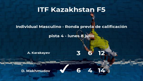 Damir Makhmudov logra vencer en la ronda previa de calificación a costa del tenista Adil Karakayev