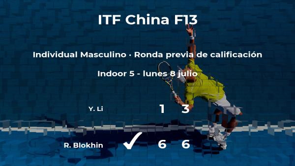 El tenista Roman Blokhin vence a Yiteng Li en la ronda previa de calificación