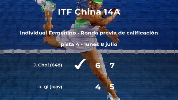 Ji-Hee Choi venció a la tenista Jiatian Qi en la ronda previa de calificación del torneo de Ulanqab