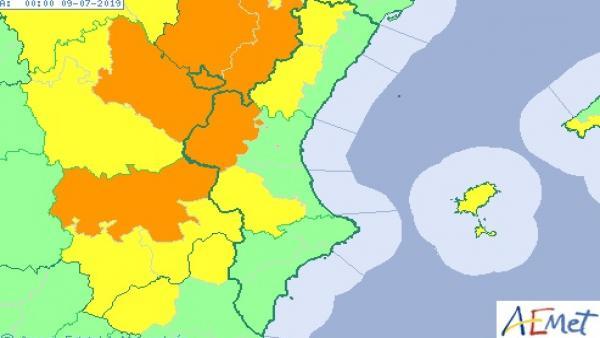 La Comunitat Valenciana està aquest dilluns en avís per tempestats i pluges que poden deixar 60 l/m2 en una hora