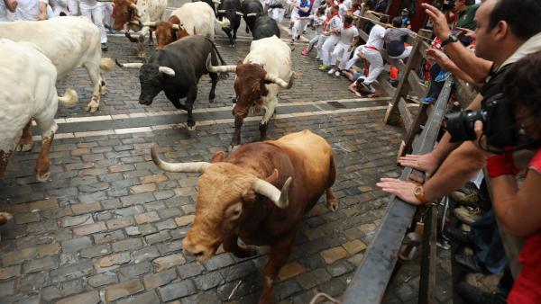 El primero encierro de los Sanfermines protagonizado por toros de Puerto de San Lorenzo.