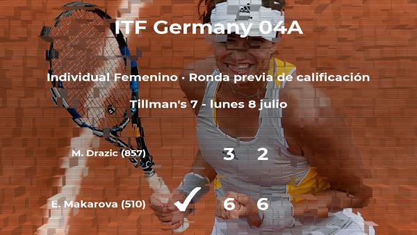 La tenista Ekaterina (1996) Makarova ganó a Mariana Drazic en la ronda previa de calificación del torneo de Versmold