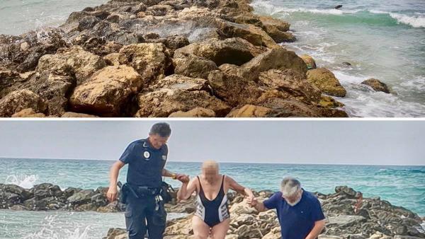 La Policía Local auxilia a unas bañistas en la playa de Ciudad Jardín