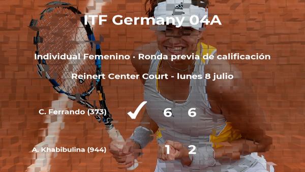 La tenista Cristiana Ferrando logra ganar en la ronda previa de calificación a costa de Albina Khabibulina