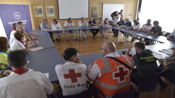 Reunión de la Junta Local de Protección Civil durante los Sanfermines 2019