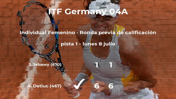 La tenista Anastasia Detiuc gana a Jasmin Jebawy en la ronda previa de calificación