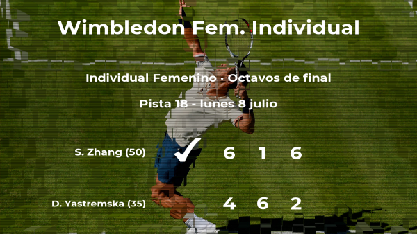 Shuai Zhang pasa a la próxima fase de Wimbledon tras vencer en los octavos de final