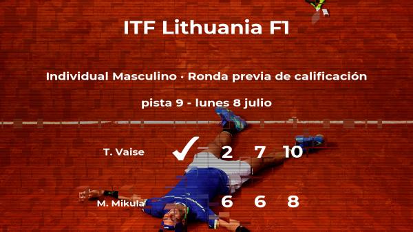 El tenista Tomas Vaise logra ganar en la ronda previa de calificación contra el tenista Michal Mikula