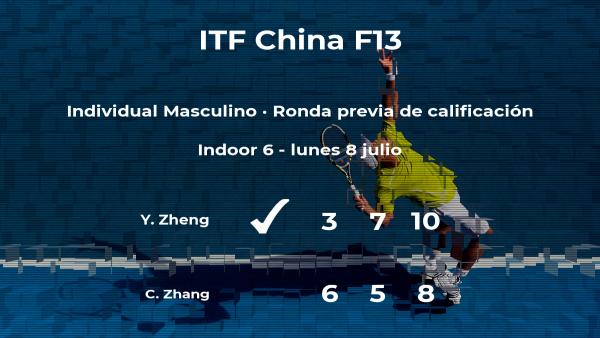 El tenista Yanjie Zheng vence al tenista Changli Zhang en la ronda previa de calificación