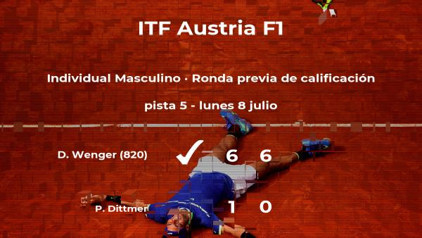 Damien Wenger consigue vencer en la ronda previa de calificación contra el tenista Philipp Dittmer
