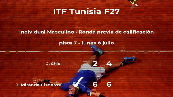 El tenista Jose Joaquin Miranda Cisneros vence en la ronda previa de calificación del torneo de Tabarka