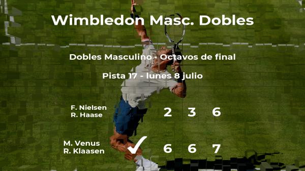 Venus y Klaasen vencen en los octavos de final de Wimbledon