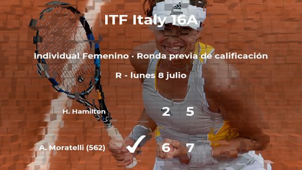 La tenista Angelica Moratelli vence a la tenista Harriet Hamilton en la ronda previa de calificación