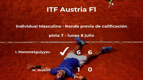 Isa Mammetgulyyev ganó a Matthew Walton en la ronda previa de calificación del torneo de Telfs