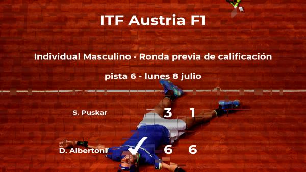 Davide Albertoni venció a Samuel Puskar en la ronda previa de calificación del torneo de Telfs