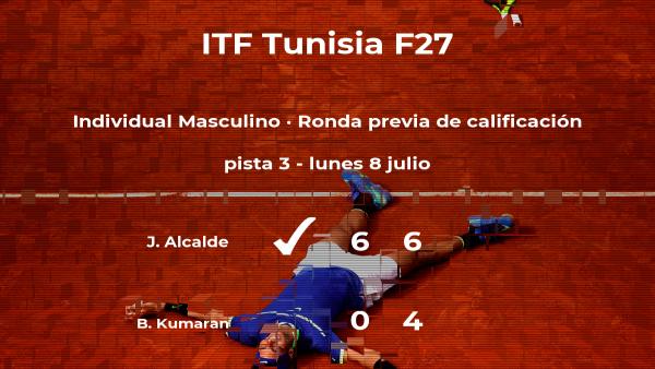 El tenista Juan Ignacio Alcalde gana al tenista Bharath Nishok Kumaran en la ronda previa de calificación