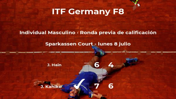 Jannis Kahlke logra ganar en la ronda previa de calificación contra el tenista Jan Soeren Hain