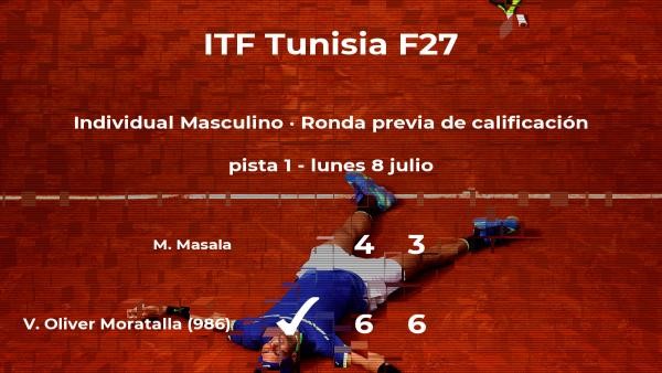Victoria para el tenista Vicente Oliver Moratalla en la ronda previa de calificación