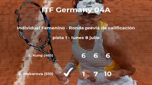 La tenista Ekaterina (1996) Makarova gana en la ronda previa de calificación del torneo de Versmold