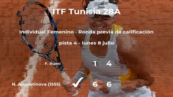La tenista Natalie Augustinova pasa a la siguiente fase del torneo de Tabarka