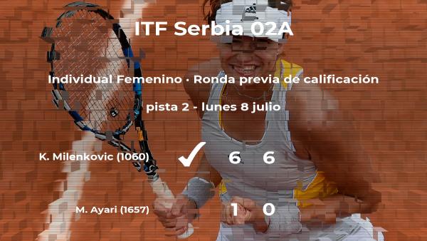 La tenista Kristina Milenkovic vence en la ronda previa de calificación del torneo de Prokuplje