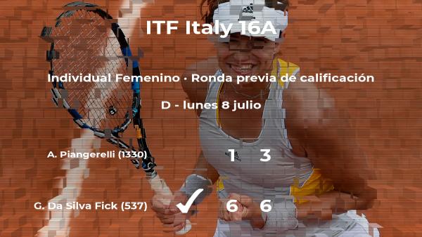 Victoria de Gabriella Da Silva Fick en la ronda previa de calificación