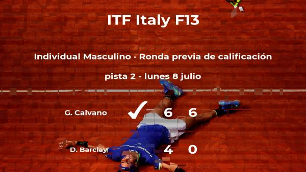 El tenista Giovanni Calvano consigue la plaza para la siguiente fase tras ganar en la ronda previa de calificación