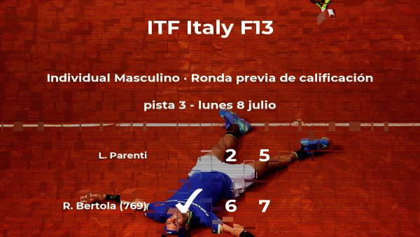 El tenista Remy Bertola vence a Luca Parenti en la ronda previa de calificación