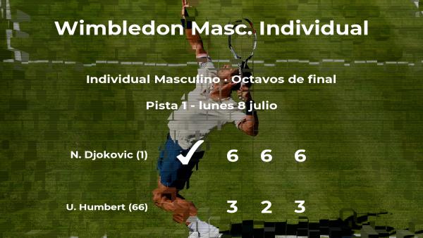 Novak Djokovic consigue la plaza de los cuartos de final a expensas de Ugo Humbert