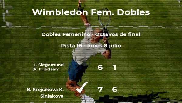 Krejcikova y Siniakova consiguen la plaza de los cuartos de final a costa de Siegemund y Friedsam