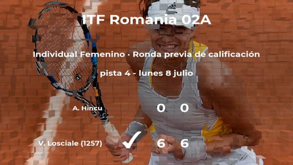 La tenista Valentina Losciale logra ganar en la ronda previa de calificación a costa de la tenista Alexandra Hincu