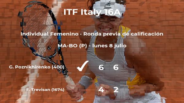 La tenista Ganna Poznikhirenko consigue ganar en la ronda previa de calificación contra Federica Trevisan