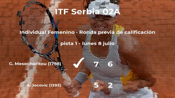 Galateia Mesochoritou venció a la tenista Andjela Jocovic en la ronda previa de calificación del torneo de Prokuplje
