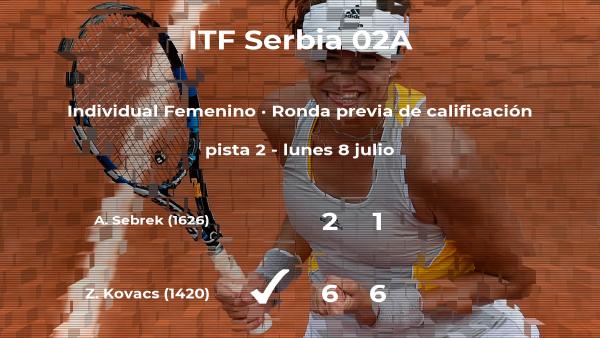 La tenista Zita Kovacs vence a Andjela Sebrek en la ronda previa de calificación