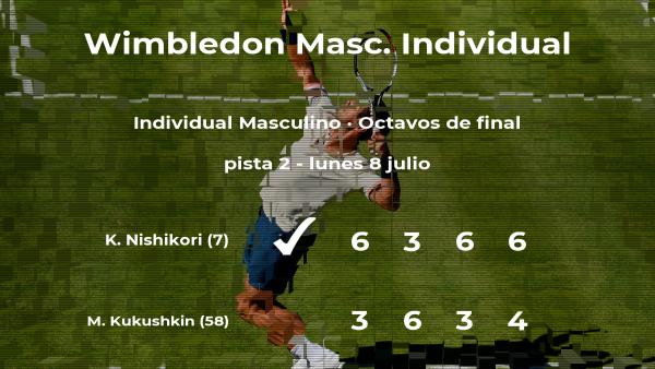 El tenista Kei Nishikori pasa a los cuartos de final de Wimbledon