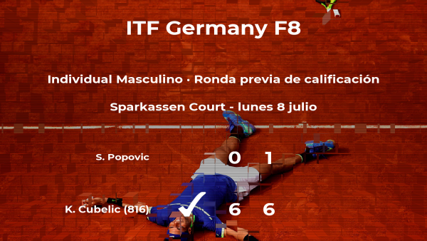 Victoria del tenista Karlo Cubelic en la ronda previa de calificación