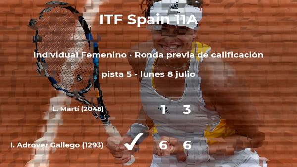 La tenista Isabel Adrover Gallego logra vencer en la ronda previa de calificación contra Laura Martí