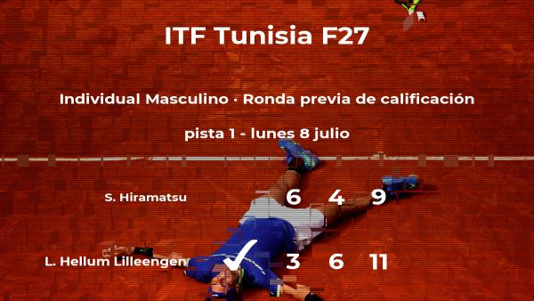 El tenista Lukas Hellum Lilleengen venció al tenista Shinnosuke Hiramatsu en la ronda previa de calificación del torneo de Tabarka
