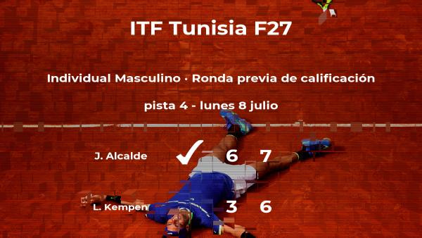 El tenista Juan Ignacio Alcalde venció al tenista Lynn Max Kempen en la ronda previa de calificación del torneo de Tabarka