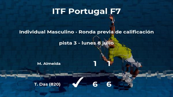 Terence Das ganó al tenista Manuel Almeida en la ronda previa de calificación del torneo de Idanha-A-Nova