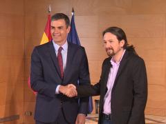 Pedro Sánchez y Pablo Iglesias, en una de sus reuniones en Moncloa.