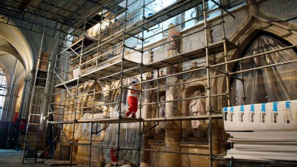 Pintura mural descubierta en la Catedral de Palencia.