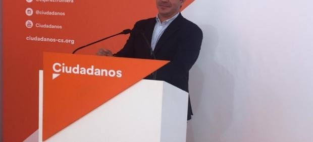 Sergio Romero, portavoz de Ciudadanos Andalucía, en una rueda de prensa