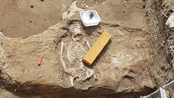 Restos humanos que han salido a la luz en las excavaciones de Palencia.