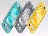 La nueva Nintendo Switch Lite en sus tres colores, amarillo, gris y turquesa
