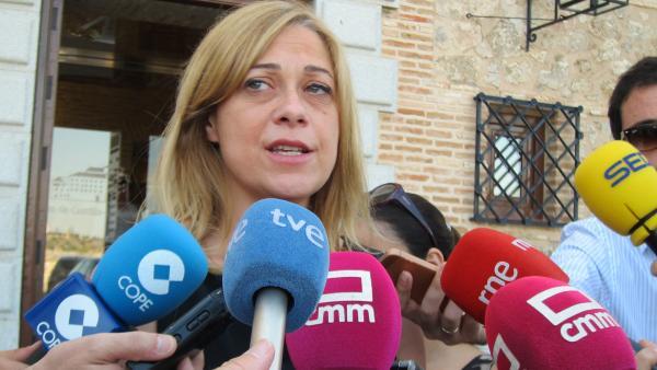 La portavoz de Cs en las Cortes de Castilla-La Mancha, Carmen Picazo, atiende a los medios