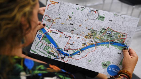 Mapa de Sevilla con los peques